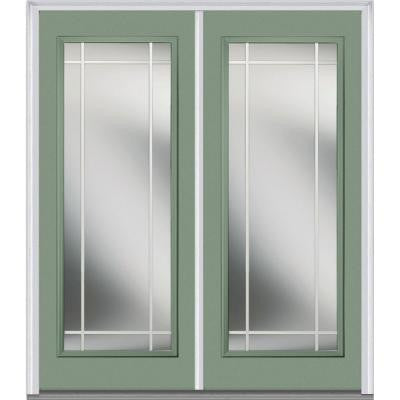60 in. x 80 in. Classic Clear Glass PIM Full Lite Painted Majestic Steel Double Prehung Front Door