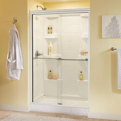 Lyndall 47-3/8 in. x 70 in. Sliding Bypass Shower Door in White with Nickel Hardware and Semi-Framed Clear Glass