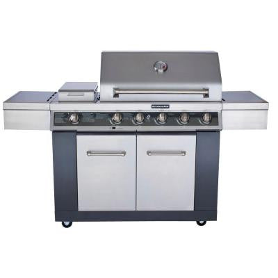 5-Burner Propane Gas Grill in Stainless Steel with LED Control Panel and Searing Side Burner and Grill Cover
