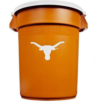 BRUTE NCAA 32 Gal. University of Texas Round Trash Can with Lid