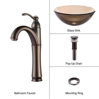 Glass Vessel Sink in Clear Brown with Single Hole 1-Handle High-Arc Riviera Faucet in Oil Rubbed Bronze
