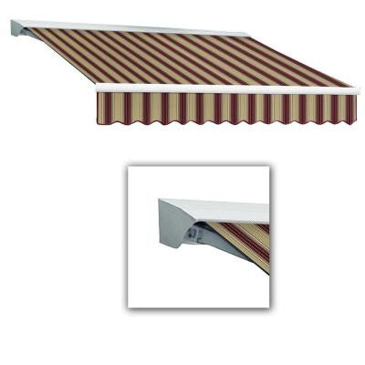 8 ft. Destin with Hood AT Model Left Motor Retractable Awning (8 ft. W x 7 ft. D) in Burgundy/Tan Multi