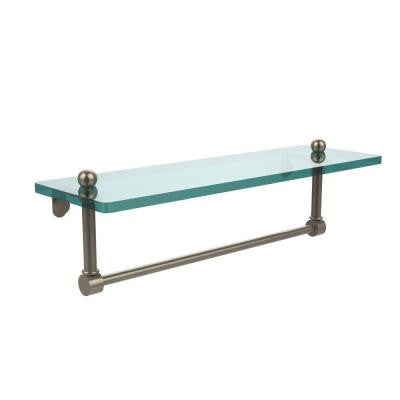 16 in. W x 16 in. L Glass Vanity Shelf with Integrated Towel Bar in Antique Pewter