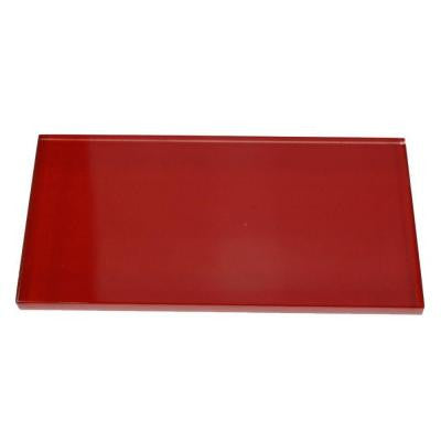 Contempo Lipstick Red Polished 3 in. x 6 in. x 8 mm Glass Subway Tile
