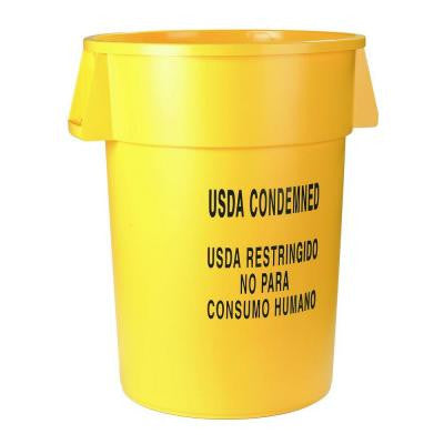 Bronco 44 Gal. Yellow Round Trash Can Imprinted with USDA Condemned (3-Pack)