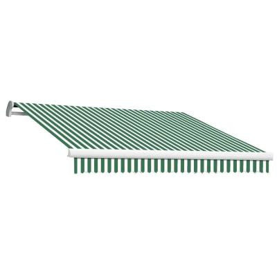 8 ft. MAUI EX Model Manual Retractable Awning (84 in. Projection) in Forest Green and White Stripe
