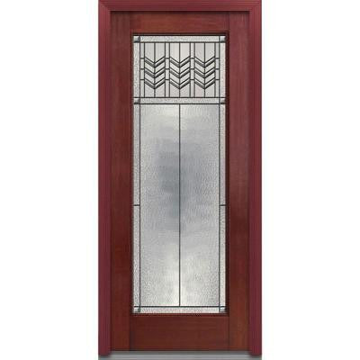32 in. x 80 in. Prairie Bevel Decorative Glass Full Lite Finished Mahogany Fiberglass Prehung Front Door