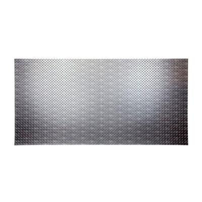 96 in. x 48 in. Diamond Plate Decorative Wall Panel in Crosshatch Silver