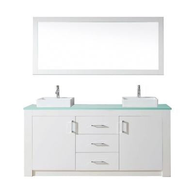 Tavian 72 in. Double Vanity in White with Glass Vanity Top in Aqua and Mirror
