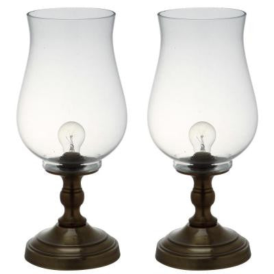 Blackburn 17.5 in. Bronze Uplight Hurricane Lamp with Clear Shade (Set of 2)