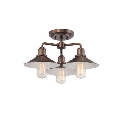 Newbury Station 3-Light Old Satin Brass Semi-Flush Mount Light