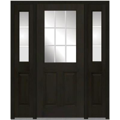 64 in. x 80 in. Classic Clear Glass GBG 1/2 Lite Finished Mahogany Fiberglass Prehung Front Door with Sidelites