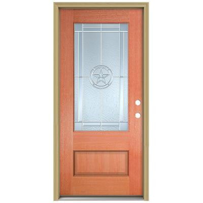 36 in. x 96 in. Lone Star 3/4 Lite Unfinished Mahogany Wood Prehung Front Door with Brickmould and Zinc Caming