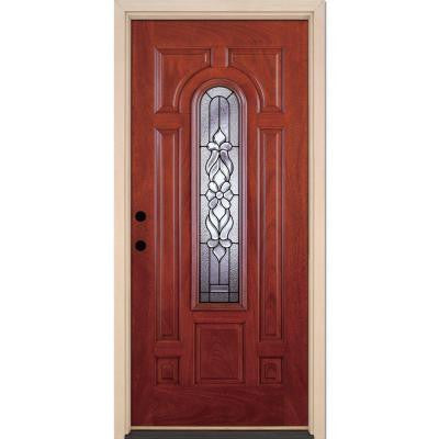 37.5 in. x 81.625 in. Lakewood Patina Center Arch Lite Stained Cherry Mahogany Fiberglass Prehung Front Door