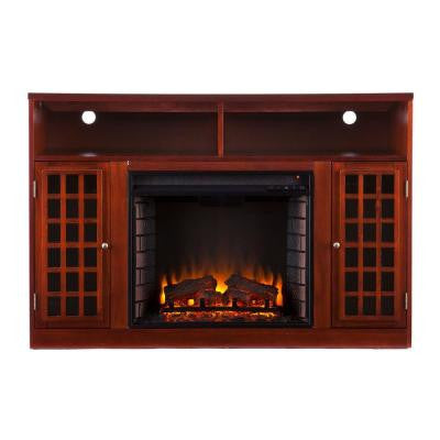 Amelia 48 in. Freestanding Media Electric Fireplace in Mahogany