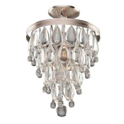 Liroma 2-Light Satin Nickel Semi-Flush Mount Light