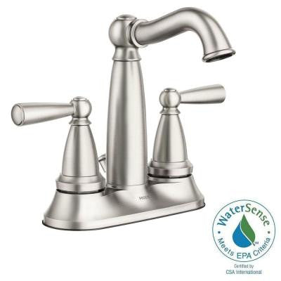 Vale 4 in. Centerset 2-Handle Bathroom Faucet Featuring Microban Protection in Spot Resist Nickel