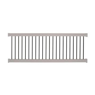 Bellaire 36 in. x 96 in. Vinyl Tan with Round Black Aluminum Spindles Straight Railing Kit
