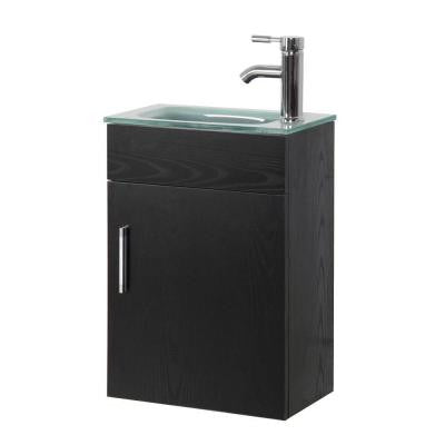 16.6 in. Vanity in Black with Tempered Glass Vanity Top in Clear Frosted