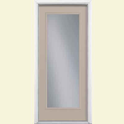 32 in. x 80 in. Full Lite Painted Smooth Fiberglass Prehung Front Door with Brickmold