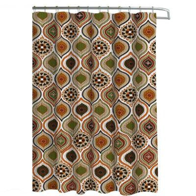 Oxford Weave Textured 70 in. W x 72 in. L Shower Curtain with Metal Roller Hooks in Olina Rust