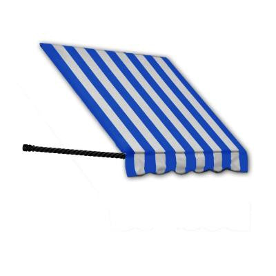 4 ft. Santa Fe Window Awning (31 in. H x 24 in. D) in Bright Blue/White Stripe
