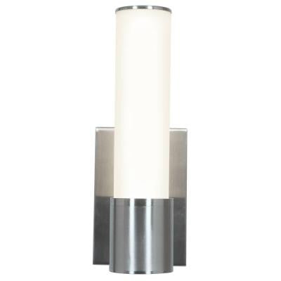 Aqueous 1-Light Brushed Steel Wall Sconce with Opal Glass Shade