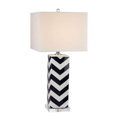 Chevron 31 in. Navy and White Table Lamp with Shade