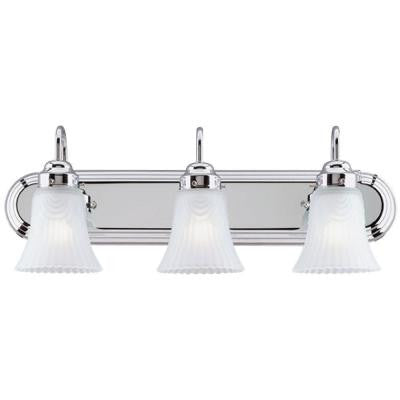 3-Light Interior Chrome Wall Fixture with Frosted Pleated Glass