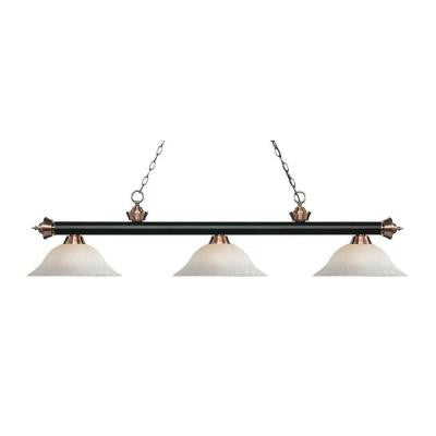 May 3-Light Matte Black and Antique Copper Island Light with White Mottle Glass Shades