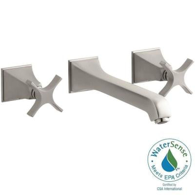 Memoirs Wall-Mount Bathroom Faucet Trim Kit with Stately Design and Cross Handles in Brushed Chrome (Valve Not Included)