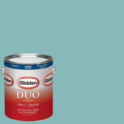 1-gal. #HDGB23D Prince Edward Teal Satin Latex Interior Paint with Primer