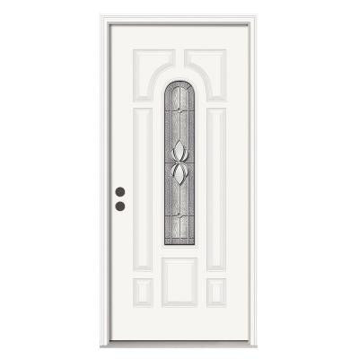 36 in. x 80 in. Langford Center Arch Primed Premium Steel Prehung Front Door with Brickmould