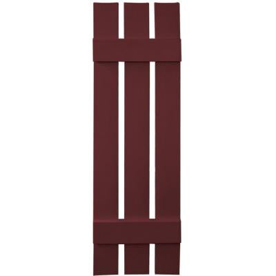 12 in. x 43 in. Board-N-Batten Shutters Pair, 3 Boards Spaced #078 Wineberry