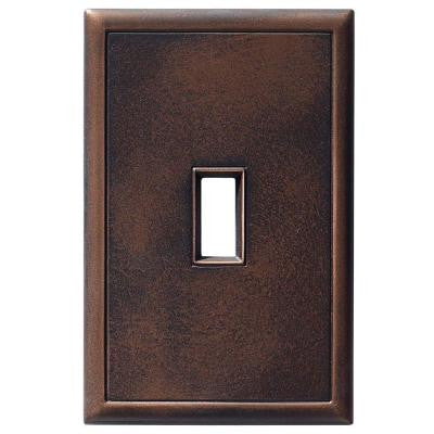 1 Toggle Screwless Cast Metal Wall Plate - Oil Rubbed Bronze