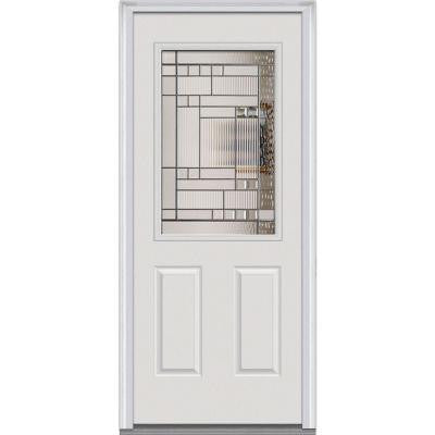 36 in. x 80 in. Kensington Decorative Glass 1/2 Lite 2-Panel Primed White Builder's Choice Steel Prehung Front Door