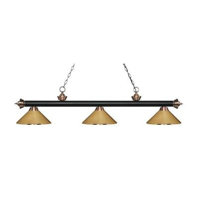 Platon 3-Light Matte Black and Antique Copper Island Light with Polished Brass Shades