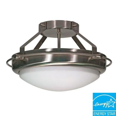 2-Light Brushed Nickel Semi-Flush Mount Dome Fixture
