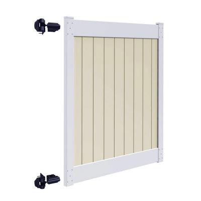 Roosevelt 5 ft. x 6 ft. Two-Toned (White Rails and Sand Infill) Vinyl Un-Assembled Fence Gate