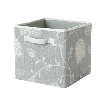 11 in. x 11 in. x 11 in. Light Blue/Natural Embroidered Fabric Storage Drawer
