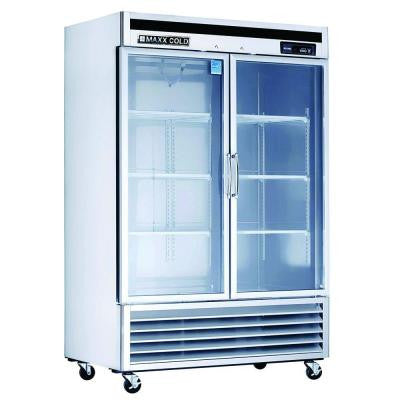 49 cu. ft. Double Glass Doors Commercial Refrigerator in Stainless Steel