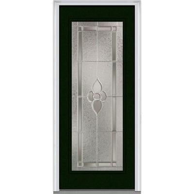 36 in. x 80 in. Master Nouveau Decorative Glass Full Lite Painted Fiberglass Smooth Prehung Front Door