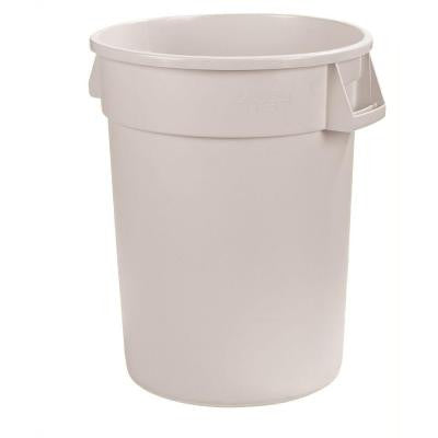 Bronco 32 Gal. White Round Trash Can (4-Pack)