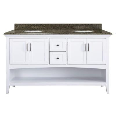 Brattleby 61 in. W x 22 in. D Vanity in White with Granite Vanity Top in Quadro with White Basins