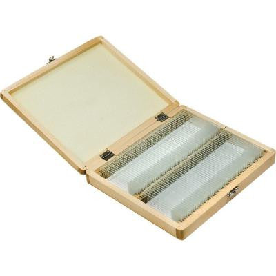 100-Pieces Prepared Microscope Slides with Wood Case