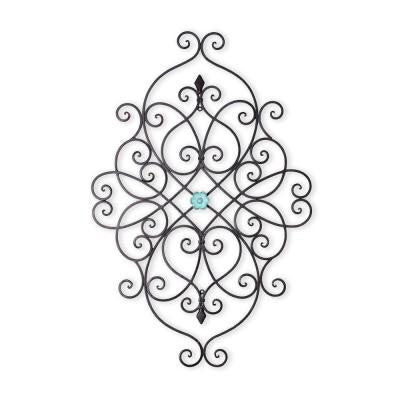 36.25 in. x 24 in. Scroll Work with Turquoise Center Piece Iron Wall Decor