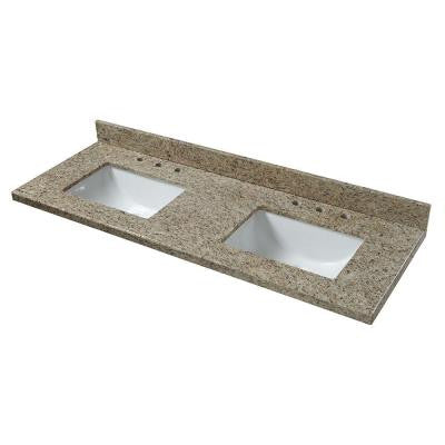 61 in. Granite Double Bowl Vanity Top in Giallo Ornamental with White Basins