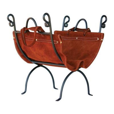 Olde World Iron 23 in. Firewood Rack with Suede Leather Carrier