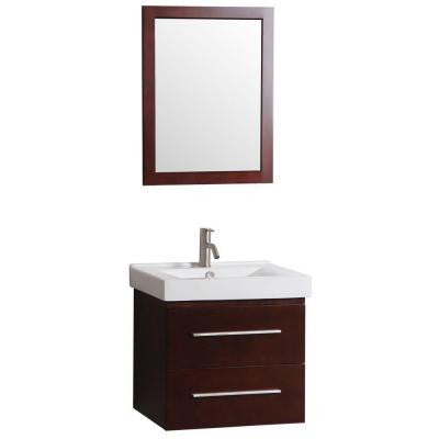 Santorini 24 in. Vanity in Dark Cherry with Vitreous China Vanity Top in White and Mirror