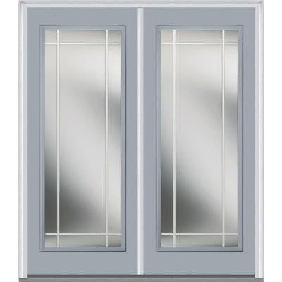 64 in. x 80 in. Classic Clear Glass PIM Full Lite Painted Builder's Choice Steel Double Prehung Front Door